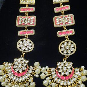 পার্ল সেটিং লং চাঁদ ঝুমকা-পিংক