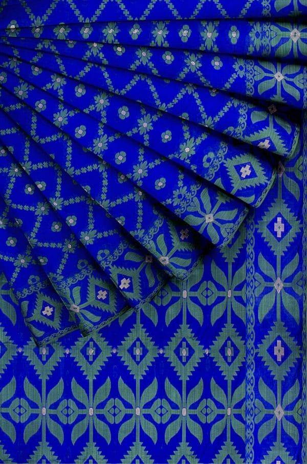নীল সুবুজে জামদানি শাড়ী
