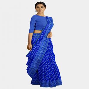 রুপাল সুতায় নীল জামদানি শাড়ী